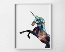 Unicorn Print, Unicorn Art, Unicorn Silhouette, Unicorn Poster, Nursery Decor, Fantasy Art, Nebula Art, Dorm Decor, Unicorn Nursery, 0398