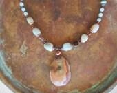 Amazonite necklace-Agate necklace-autumn tones necklace-autumn trends-trending jewelry-boho necklace-copper necklace