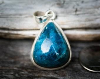 Blue Apatite Pendant - Gorgeous Blue Apatite Necklace - Blue Apatite Cabochon - Blue Apatite pendant - Blue Apatite Necklace