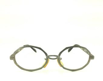60s Vintage Eyeglasses | Gunmetal Grey Round Glasses | Cutout Temples | NOS Eyeglass Frame | Deadstock Eyewear - First Lady