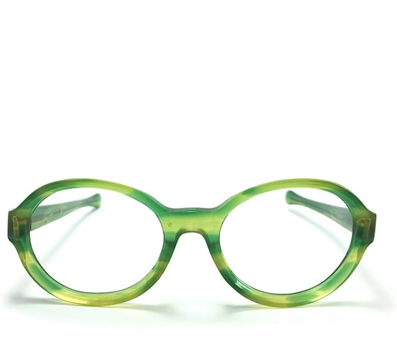 Vintage Eyeglass Frame Round Mod Glasses Green and Yellow