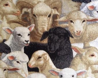 One Half Yard of Fabric Material - Sheep, Lambs and Ewes