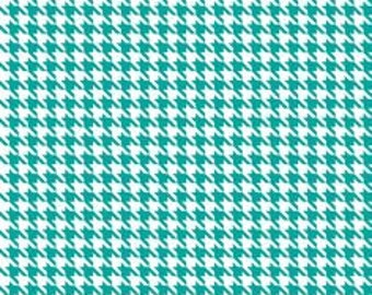 Blue/Cream Houndstooth Wool Fabric