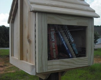 Little house on a stick, UNFINISHED, 23 x 17 x 17 library, neighborhood book box, fully assembled, post mount attached, weather resistant