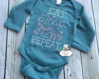 Eat, Sleep, Love Me, Repeat Bodysuit, New Baby Gift, Baby Shower Gift