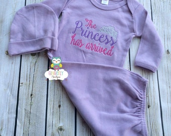 The Princess has Arrived Shirt, Gown, or Bodysuit, New Baby Gift, Baby Shower Gift, Princess Shirt, Princess has arrived