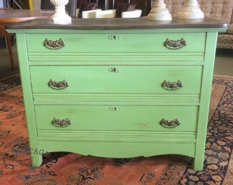 SOLD!!! Green Painted Antique Dresser