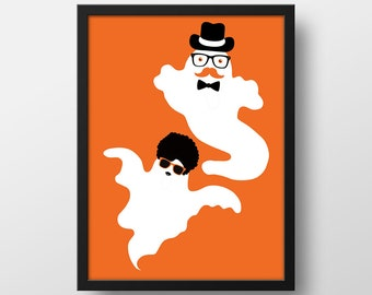 Funny Hipster Halloween Ghost Print - Halloween Decor - Art Prints - Halloween Printables - Instant Download - 8x10 in. Hipster Ghosts