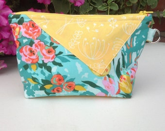 Makeup bag, cosmetic case, wristlet, aqua and yellow