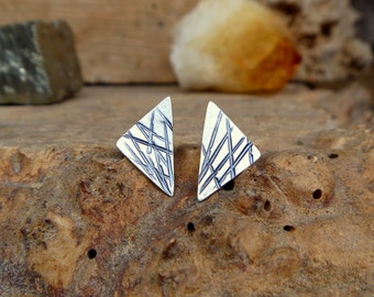 Hand stamped sterling silver stud earrings
