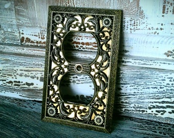 Vintage Electrical Cover, Gold Filigree Plate, Very Ornate Wall Decor