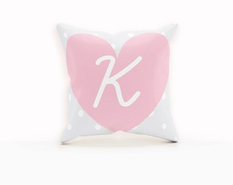 Throw Pillows Gray, Polka Dot Pillow Cover, Pink Anchor Pillow, Throw Pillows Grey, Heart Pillow, Pink Nursery Pillow, Monogram Pillow,