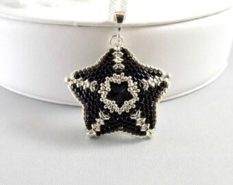 Swarovski Rivoli Star Pendant Necklace Jet, Black