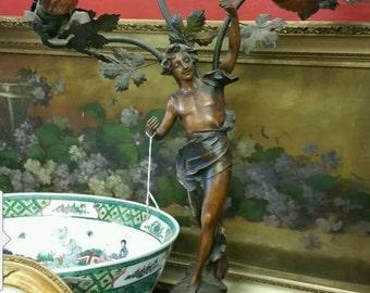 Antique art nouveau french figural table lamp signed la pecheuse