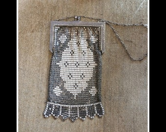 Antique enamel mesh metal purse bag