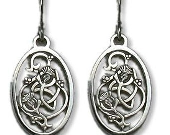 Pierced Celtic Thistle Earrings with French Wires - Sterling Silver