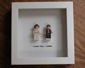 LEGO Frame Art - Han Solo & Princess Leia - Star War Wedding - LEGO Minifigure Display - Wedding Gift - Wall Decor - Picture Frames Displays