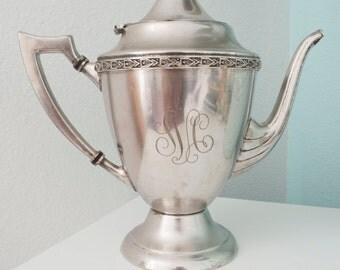 1920's Engraved Antique Silver Tea Pot