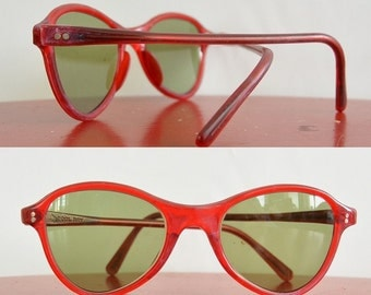 Vintage Red Polaroid Cool Ray Sunglasses 1960's Small