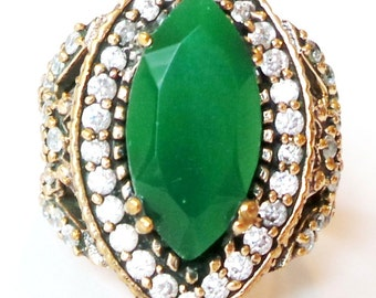 LARGE Afriican Emerald and White Topaz 925 Sterling Silver Ring 8