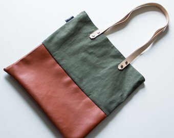 Outdoor handmade totebag with fauxleather and denim