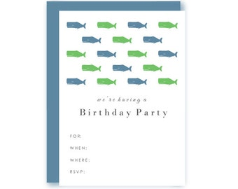 Blank Preppy Whale Birthday Party Invitations