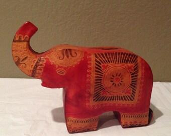 Genuine Leather Elephant Piggy Bank Figurine Handmade India Black and Orange