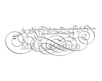 Penmanship script rubber stamp / Background stamp / Calligraphy rubber stamp (150601)
