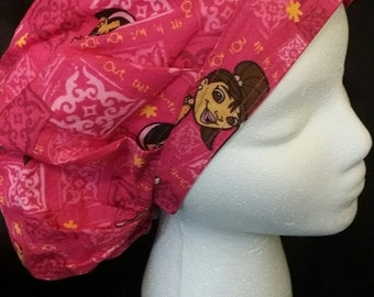 Prettie Girls Pink One World Doll Project Bouffant Scrub Hat With Banded Front & Toggled Back