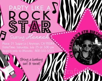Printable Rock Star Themed Party Invitation