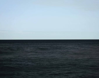 Ocean Photography Horizon- light blue dark navy waves contrast coastal seascape prints