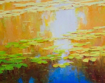 Waterlilies Large Size Landscape oil Painting Original Handmade Artwork One of a Kind Made by Palette Knife Painting for gift Signed artwork