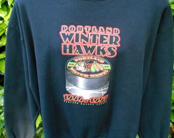 Vintage 90s Portland Winterhawks Sweatshirt Black Hockey WHL