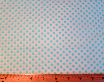 White and Blue Polka Dot Fabric