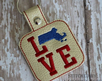 Massachusetts LOVE  - In The Hoop - Snap/Rivet Key Fob - DIGITAL Embroidery Design