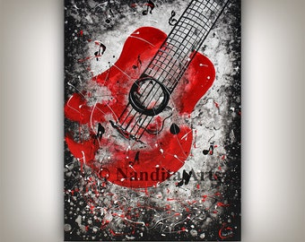 Guitar Painting Music Art Wall Hanging Red and Black painting on canvas music home & Living room decor handmade wall hanging by Nandita