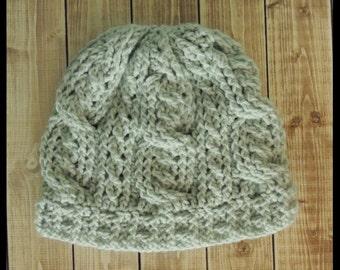 Double Cable Crochet Hat, Beanie Hat, Adult size
