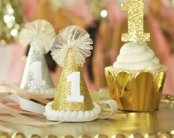1 - First Birthday Glitter Hat in Gold or Silver