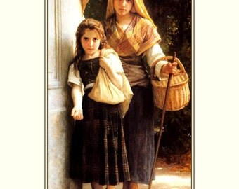 "11x14"" cotton canvas art print   of LITTLE BEGGARS.   Poor begger children  painting by William  Adolphe Bouguereau"