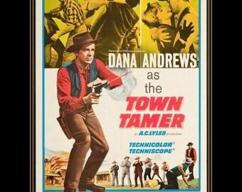 "11 X 14""  canvas art print~  Vintage Cowboy & western movie poster.  Dana Andrews, The Tamer.  1930-40s"