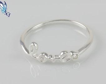 Love Script Ring, Sterling Silver Script Ring, Size 7, Valentine's Day Gift, Best Friend Gift, Dainty Ring, Friendship, Script Ring, SR172