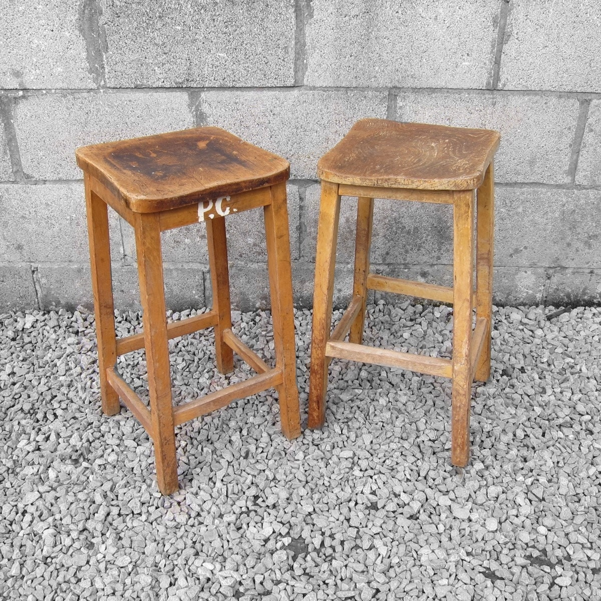 1940s 1950s Wooden Old Vintage School Science Lab Stools Seat
