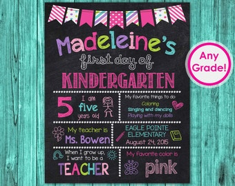 1st Day of School Sign, First Day of Kindergarten Chalkboard Sign Printable, Personalized First Day of School Back to School Preschool Grade