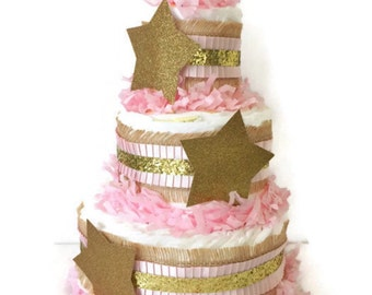 Twinkle Twinkle Little Star Diaper Cake, Twinkle Twinkle Little Star Baby Shower Centerpiece, Pink and Gold Baby Shower Decorations
