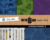 Dr. Who Mega Paper Pack : 42 Printable Digital Scrapbook Papers and 2 Bonus Papers