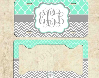 Monogram License Plate Frame - Mint Lattice Chevron - Personalized License Plate - Car Tag Frame - Front Plate Frame