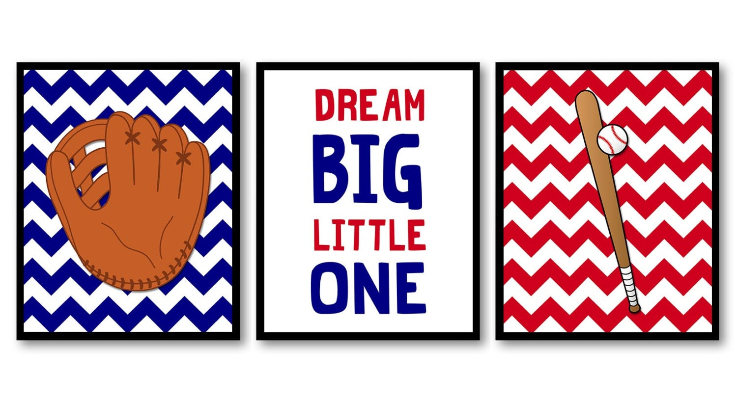 Baseball Nursery Art Child Kids Prints Art Baseball Bat and Glove Dream Big Little One Set of 3 Navy