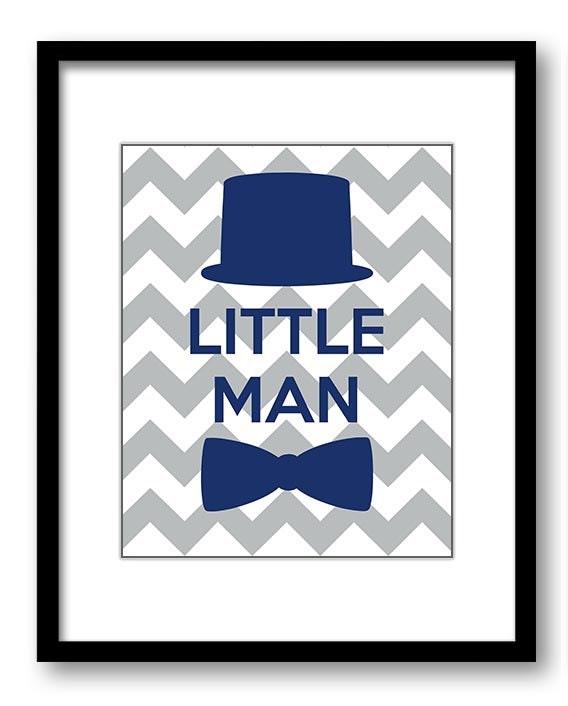 Little Man Nursery Art Blue Navy Grey Nursery Print Tophat Gentleman Hipster Bowtie Child Baby Art P