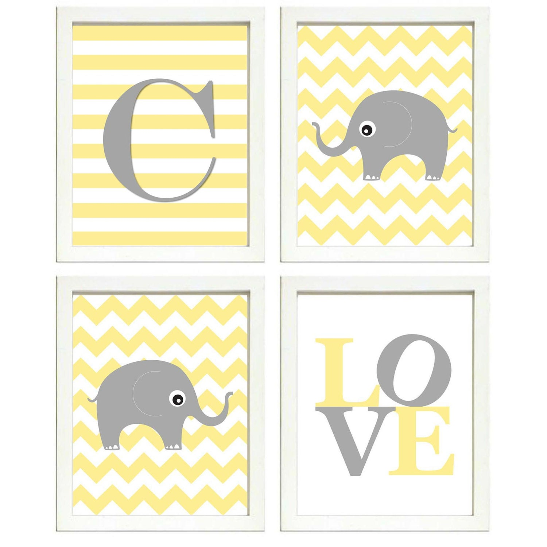 Elephant Nursery Art Set of 4 Prints Grey Yellow Chevron LOVE Letter Monogram Child Kids Room Chevro