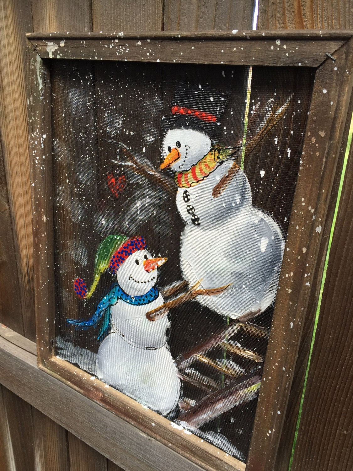 Snowman Painted On Screen Recycled Personalize This For